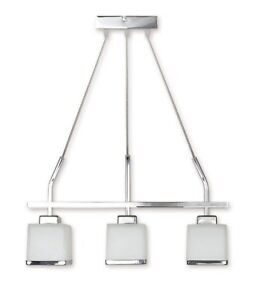 MODERN PENDANT 3 LIGHT CEILING FITTING - CHROME CHANDELIER GLASS SHADE - DUO LED