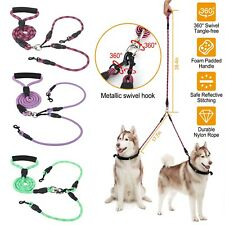 Double Dog Leash No Tangle Coupler Nylon Leash Dual for Two Medium/Small Dogs Us