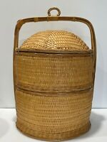 Vintage 2 Tier Japanese Chinese Wedding Basket Hand Woven Bamboo w/ Lid Handle