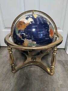 """Lapiz Gemstone World Globe Lapis 18"""" x 16"""" Brass Stand"""