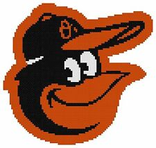 Counted Cross Stitch Pattern, Baltimore Orioles Logo - Free US Shipping
