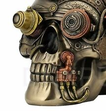 STEAMPUNK Skull Trinket Box Bronze Statue Sculpture - NEW
