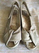 FLY London Cloud Gray Leather Wedge Sandals Size 36 US 6