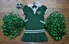 CHEERLEADER OUTFIT HALLOWEEN COSTUME NY JETS CUTE CHEER DRESS POM POMS BOW 4T