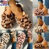 Women Leopard Fur Slides Slippers Ladies Peep Toe Slip On Warm Slippers Shoes US