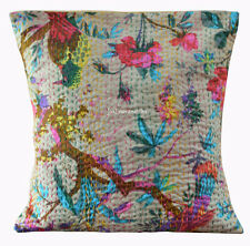 Indian Cotton Bird Cushion Cover Pillow Decor Gift  Kantha New Handmade Home