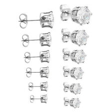 Lots 6Pairs Mens Womens Cubic Zirconia Stainless Steel Round Stud Earrings Set