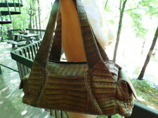 NANCY GONZALEZ genuin CROCODILE alligator DOCTOR BAG handbag PURSE brown LEATHER