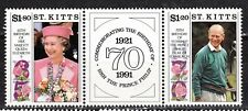St KITTS – 737-8  MNH ** - Birthday Elisabeth II and Prince Philip 1991