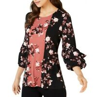 ALFANI NEW Women's Rose-print Ruffle Blouse Shirt Top TEDO