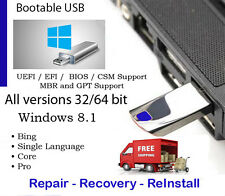 USB 32GB & DVD Win8.1 All Ver 32 & 64 bit Reinstall WITH DRIVERS INCLUDED w/HD