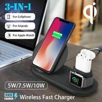 3 in1 10W QI sans Fil Chargeur Dock Station Rapide de Pour Apple Montre 1 2 3 4