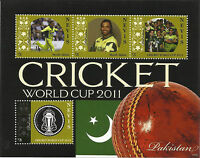 NEVIS 2011 ICC CRICKET WORLD CUP PAKISTAN TEAM SHOAIB AKHTAR 4v Sheet MNH