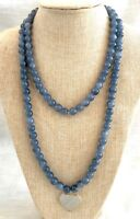Vintage Blue Agate/Chalcedony Beaded Necklace, Heart Drop/Pendant - 45 Inches