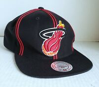Miami Heat Hat Mitchell And Ness Ball Cap Snapback NBA Basketball Black Red