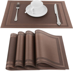 Placemats Washable Vinyl Woven Table Mats Elegant Placemats For Dining Set Of 4