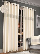 New Luxury Diamante Faux Silk Lined Curtain Pair Ring Top Readymade Eyelet