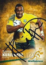✺Signed✺ 2016 WALLABIES Rugby Union Card Card TEVITA KURIDRANI