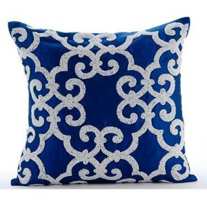 "Zipper Pillowcase Luxury 16""x16"" Blue, Silk Bead - Royal Arabic"