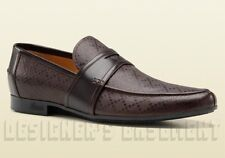 GUCCI mens 8* brown DIAMANTE leather ANDERSON penny Loafers shoes NIB Auth $530!