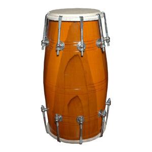 Handmade Wooden Dholak/Dholki Drum Folk Indian Musical Instrument Bhajan Kirtan