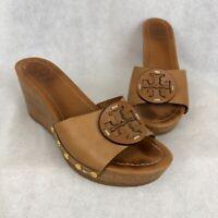 Tory Burch Womens Slides Sandals Brown Medallion Leather Wedge Heel Slip On 9.5