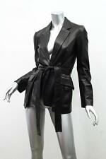YVES SAINT LAURENT Womens Black Leather Long-Sleeve Belted Blazer Jacket 36/4