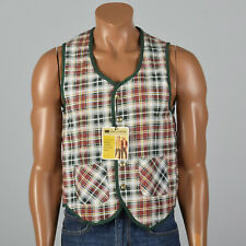 Small 1960s Plaid Flannel Vest Patch Pockets VTG Sleeveless Quilted Lining