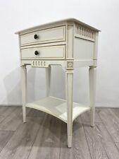 Beautiful Cream & Gilt Detail * 2 Drawer SIDE TABLE * Bedside Cabinet Storage