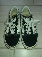 Vans Black and White Checker Athletic Low Skate Shoes size 2 distressed lace up