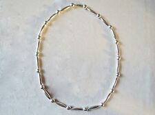 Sterling Silver Mexico Ball and Marquise Beaded Necklace 31 Inches 90 Grams