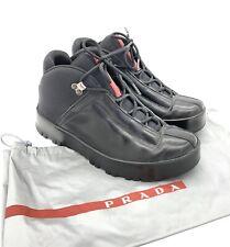 Prada Black Leather Fashion Ankle Boots Shoes Women Size 37 7US