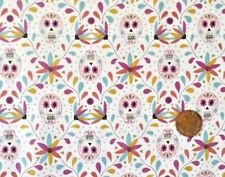 SKULLS ON WHITE BY LEWIS & IRENE - COTTON FABRIC FQ'S