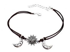 Ankle Bracelet Sun Moon Brown Corded Wrist Anklet Hippy Vibe Bohemian