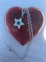 """925 Sterling Silver W/ Blue CZ Evil Eye Protection Pendant star 20""""chain"""
