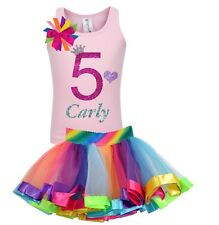 Bubblegum Divas 5th Birthday Shirt 5 Girls Rainbow Party Outfit Personalized Set