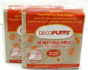 "2-DECOPUFFS Tissue Paper Squares 5.5"" x 5.5"" 300 Sheets - DESERT TAN 58418 NEW"