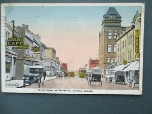 TORONTO, BROADVIEW, QUEEN STREET, CIRCA 1925, CARS, TROLLEY CAR, SHOPS & SIGNS