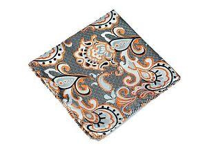 Lord R Colton Masterworks Pocket Square - Pisaq Silver Black Orange Silk - New
