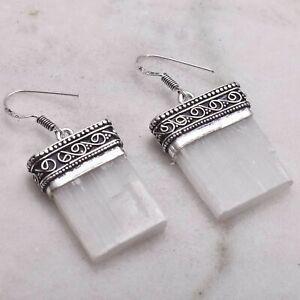"Selenite Handmade Drop Dangle Antique Design Earrings Jewelry 1.64"" AE 67031"