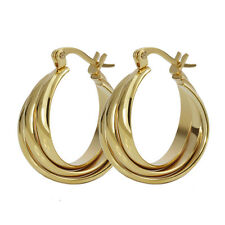 One pair Gold Plated Stainless Steel Women Hoop Earrings For Wife Gifts Jewelry