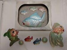 Vtg 60s Miller Studio Anthropomorphic Fish Plaster Wall Plaques Bathroom in Box
