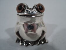 George VI Shaker - Frog Toad Salt Pepper - English Sterling Silver   Asprey 1947