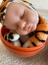 """Anne Geddes Sleeping Baby Tiger Beanie Doll 9"""" 2007"""
