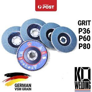 "GERMAN Zirconia VSM Grain 125mm Blue Flap Disc | P36/P40/P60/P80 Grit 5"" Grind"