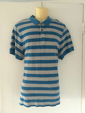 Burberry London Mens Shirt XXL Polo Style Blue Grey Stripes Logo AUTH NEW