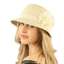 UPF 50+Beach Summer Bucket Lace Ruffle Flower Bell Cloche Packable Hat Natural