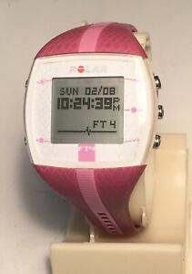 Polar FT4 Ladies Magenta w/Pink Stripe Watch Only NO HR Band Sml/Med Band #1