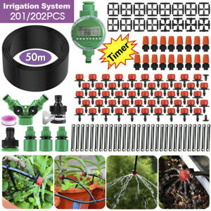 50M Hose Garden Irrigation System with Timer Plant Watering Micro Drip Kits DIY