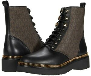 MICHAEL Michael Kors Haskell Booties Women's Classic Combat Boots Leather Black